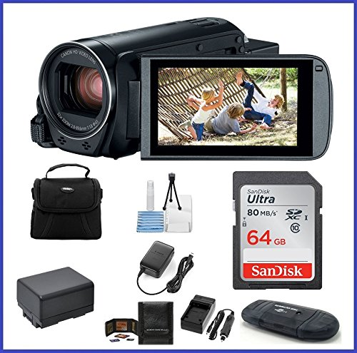 - Canon VIXIA HF R800 Full HD Camcorder Bundle, Includes: 64GB SDXC Memory Card, AC/DC Travel Charger, Spare Battery and More.