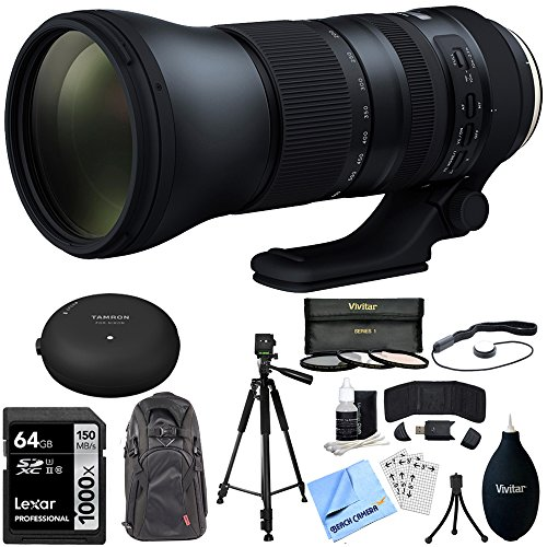 Tamron SP 150-600mm F/5-6.3 Di VC USD G2 Zoom Lens for Canon SLR DSLR Mount - Includes Tamron Original Tap-In Console, Lexar 64gb 1000x Class 10 SD Card