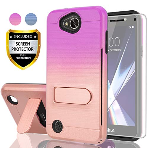 (AYMECL LG X Power 2 Case,LG X Charge Case,LG K10 Power Case,LG Fiesta 2 LTE Case HD Screen Protector,[Card Slots Holder] Plastic TPU Hybrid Gradient Color Case LG LV7-GC Purple&Rose Gold)