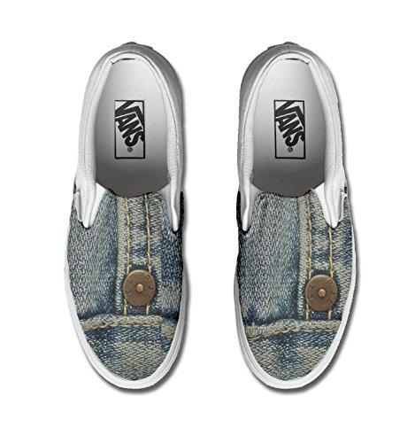 Vans unisex con stampa artigianale personalizzata (Prodotto Artigianale) Jeans TG40,5