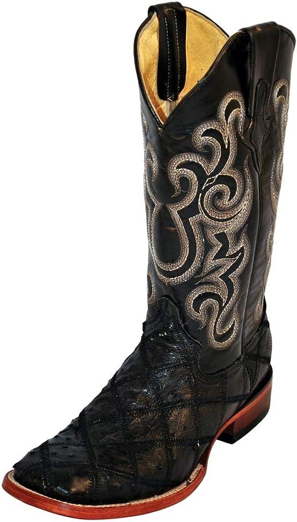 Ferrini Men's Ostrich Patchwork Exotic Western Boot Wide Square Toe - 1169309