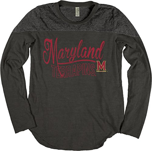 Ncaa Maryland Terrapins Adult Women Ncaa Womens Dyed Long Sleeve Yoke Tee Large Black