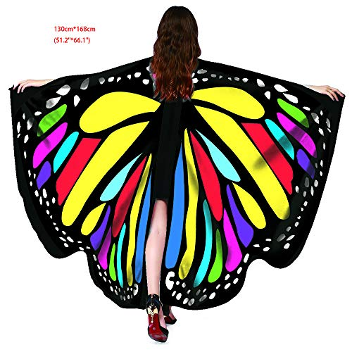 Halloween Party Soft Fabric Butterfly Wings Shawl Fairy Ladies Nymph Pixie Costume Accessory (Butterfly Rainbow) -