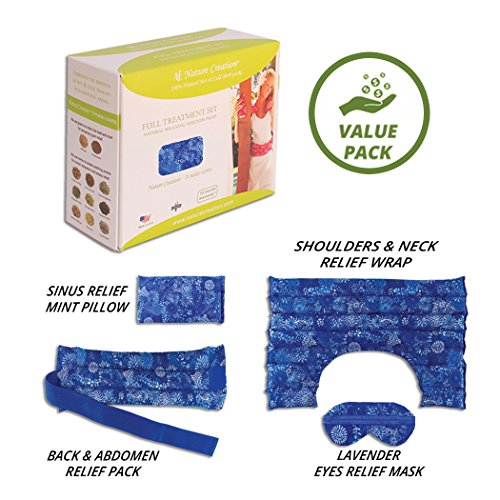Full Treatment Set- Heating Pad/Cold Pack for Neck, Shoulder, Back, Stomach Pain Relief– Microwavable Hot and Cold Therapy by Nature Creation (Blue ()