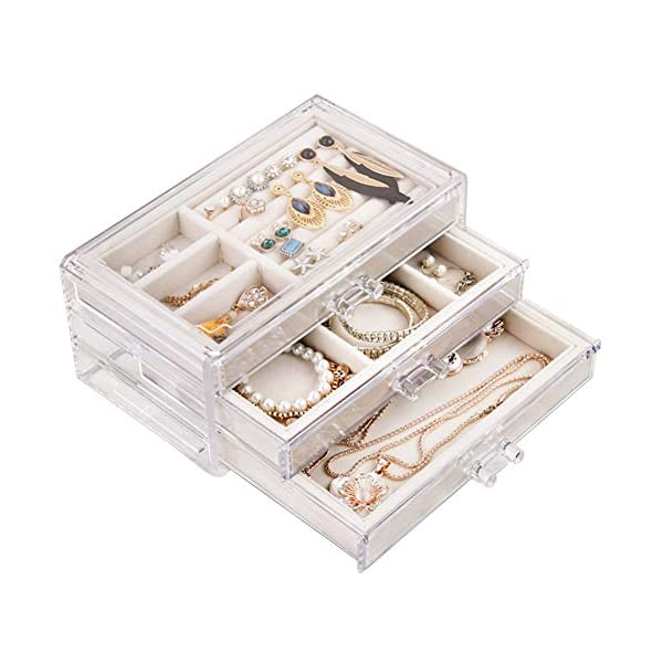 Tasybox Clear Jewelry Box Organizer 3 Drawers Velvet Jewellery Boxes Acrylic Ring Earring Necklace Bracelet Holder Display Case Gift for Women Girls Men