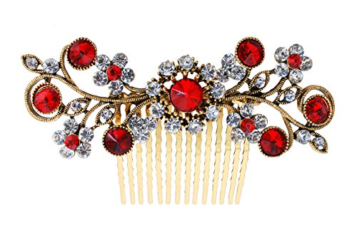 En Vogue Accessories - Vogue Hair Accessories Exclusive Collection Wedding Party Fancy Bridal Comb Hair Clip (Red)