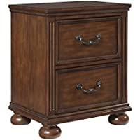 Lazzene 2 Drawer Nightstand in Medium Brown