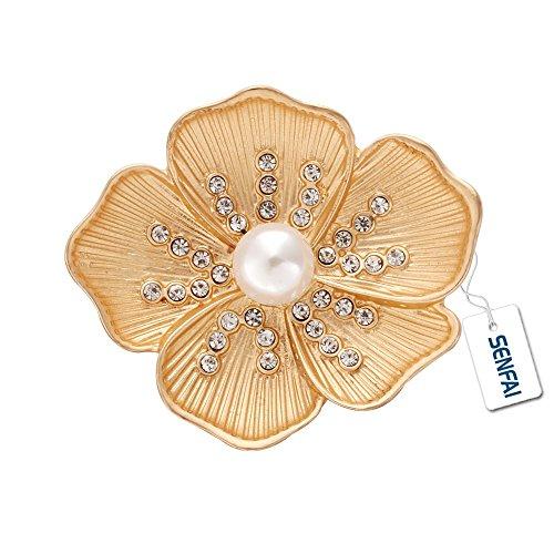 SENFAI Crystal Poppy Flower Pearl Wedding Dress Brooch Womens Gift Jewelry (Gold) by SENFAI