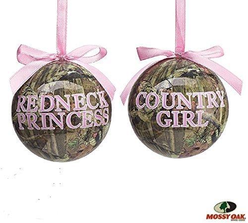 "Set of 2 Mossy Oak Christmas Tree Ornaments with ""Redneck Pr"