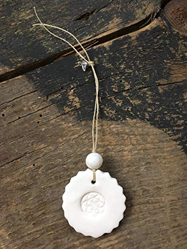 Seed of Life Mandala Essential Oil Diffuser with White Jade Bead for Inner Peace and Protection
