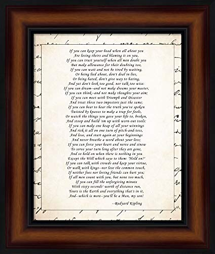 If - Script Border by Rudyard Kipling Framed Art Print Wall Picture, Brown Traditional Frame, 11 x 13 - Art Wall Border Framed