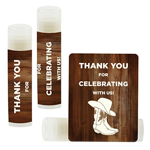 Andaz Press Lip Balm Birthday Party Favors, Thank You for Celebrating with Us, Cowboy Boots, 12-Pack, Cinco de Mayo Mexican Fiesta Themed Decor