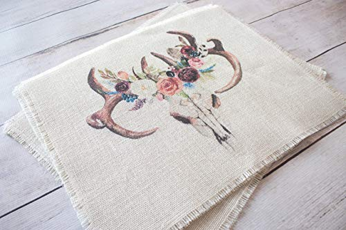 Boho floral skull placemats - set of two bohemian style place mats