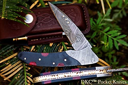 DKC Knives 4 8 18 DKC-133-R Black Jack Damascus 4.75 Folded 7.75 Open 6.1 oz Pocket Folding Knife Hand Made Incredible Look and Feel