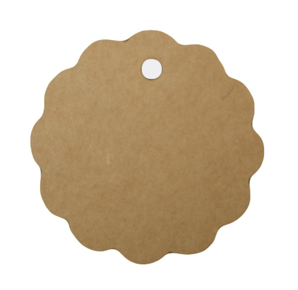 Gespout Small Circular Labels DIY Wedding Décor Christmas Celebration Kraft Paper Price Gift Tags Cards Word Card (100pcs), brown, 100PCS