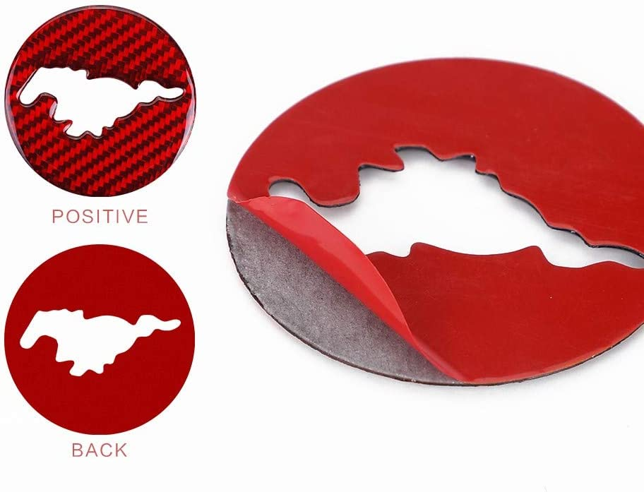 ramuel Compatible with Auto Rim Carbon Fiber Special Interior Cover Trim for Ford Mustang 2015 2016 2017 2018 2019 2020(Red)