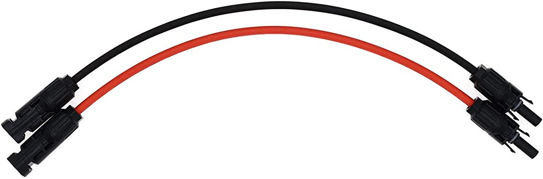 MC4 Solar Adaptor Cable Solar Panel Extension Cable Wire MC4 Connector Solar Extension Cable with MC4 Female and Male Connectors Red 12AWG 1FT-2D 4mm/² Super Cloud 1 Pair Black