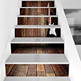 Stair Stickers Wall Stickers,6 PCS Self-adhesive,Popstar Party,Electric Guitar in the Wooden Room Country House Interior Music Theme,Brown Black White,Stair Riser Decal for Living Room, Hall, Kids Roo