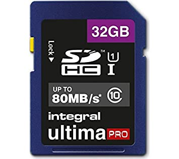 Integral 32GB SDHC UltimaPro 32GB SDHC UHS-I Class 10 Memoria Flash - Tarjeta de Memoria (SDHC, 0-70 °C, UHS-I, Class 10, FAT32, Ampolla)