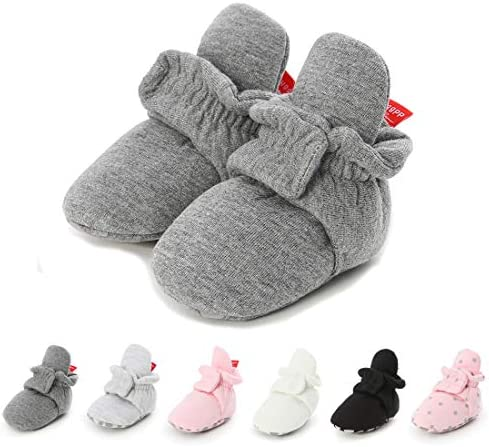 LAFEGEN Infant Baby Boys Girls Slipper Stay On Non Slip Soft Sole Newborn Booties Toddler First Walker Crib House Shoes 0-18 Months