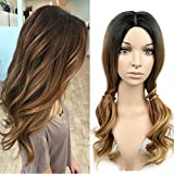 lady parts - Lady Miranda 3 Tone Ombre Wig Black to Brown Blonde Middle Part High Density Heat Resistant Synthetic Hair Weave Full Wigs For Women (Black&Brown&Blonde)