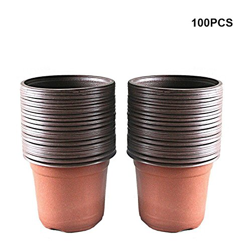 KINGLAKE 100 Pcs 4'' Plastic Plants Nursery Pot/Pots Seedlings Flower Plant Container Seed Starting Pots by KINGLAKE