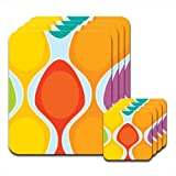 Colorful Groovy Retro Pattern Orange Yellow Set of 4 Placemat & Coasters