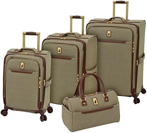 LONDON FOG Cambridge II Softside Expandable Spinner Luggage, Olive Houndstooth, 4 Piece Set