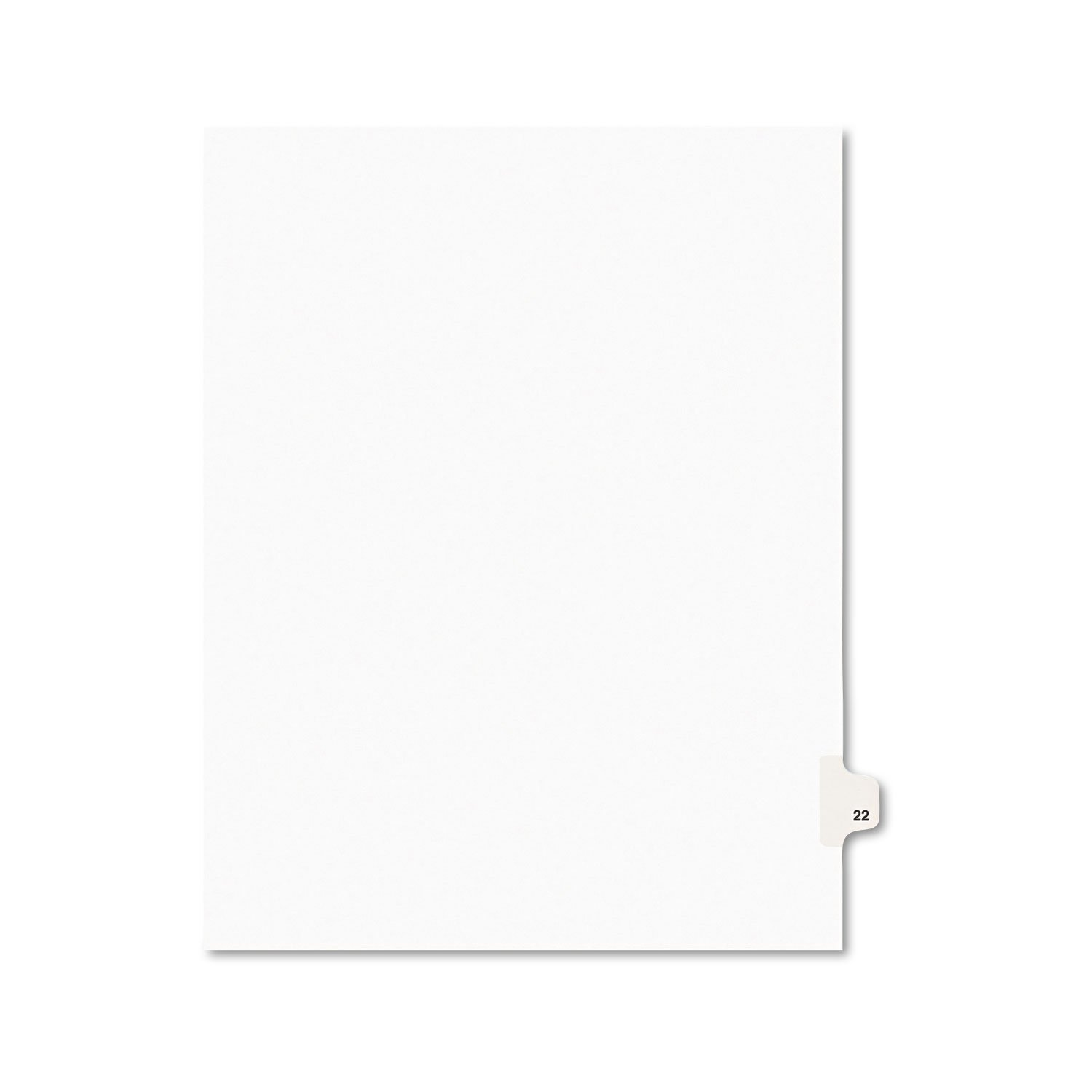 Avery 01022 Avery-Style Legal Exhibit Side Tab Divider, Title: 22, Letter, White, 25/Pack AVERY-DENNISON-KNM