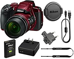Nikon COOLPIX B700 20.2 MP 60x Opt Zoom Super Telephoto NIKKOR 4K Digital Camera Bundle Set w/ Rechargeable Battery, Charger, Euro Adapter etc (Red)