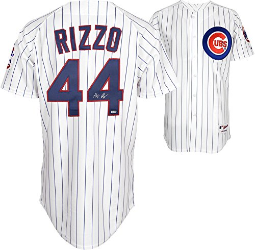 Anthony Rizzo Chicago Cubs Autographed Majestic White Replica Pinstripe Jersey - Fanatics Authentic Certified Autographed Majestic Authentic Pinstripe Jersey
