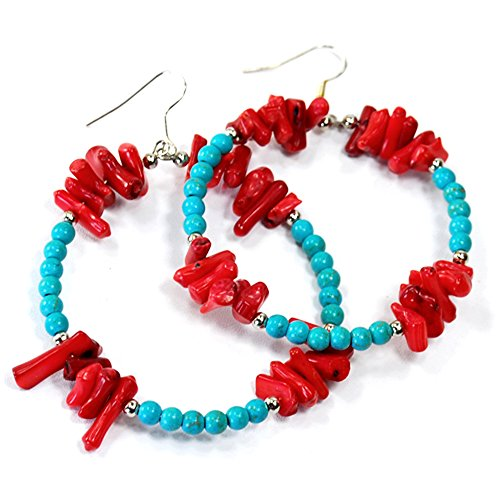 Blue Magnesite Turquoise & Red Coral Beads Sterling Silver Earring(ER243)a Blue Magnesite