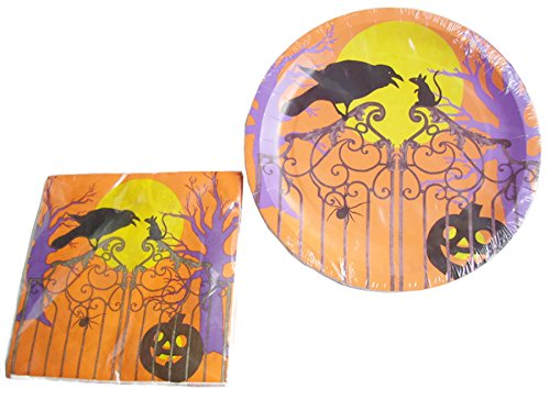 Halloween Plate and Napkin Set ~ Serves 18 (Eerie Night) -