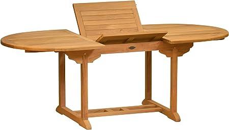 Kai Wiechmann Orvieto - Mesa extensible (ovalada, madera de teca, para jardín, 120 a 170 cm, resistente a la intemperie y ajustable): Amazon.es: Jardín