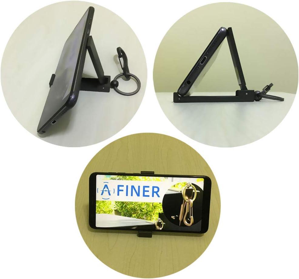 「AFINER」バッグハンガーホルダー テーブルフック キーホルダー ススマホスタンド 持ち便利 折りたたみ式 安定性 多機能(鉄グレー*つや消し)第2世代 新しい携帯型
