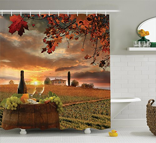 Tuscany Italy Landscape - Ambesonne Winery Decor Collection, White Wine with Barrel on Vineyard at Sunset in Chianti Tuscany Italy Landscape Print, Polyester Fabric Bathroom Shower Curtain Set with Hooks, Orange Green