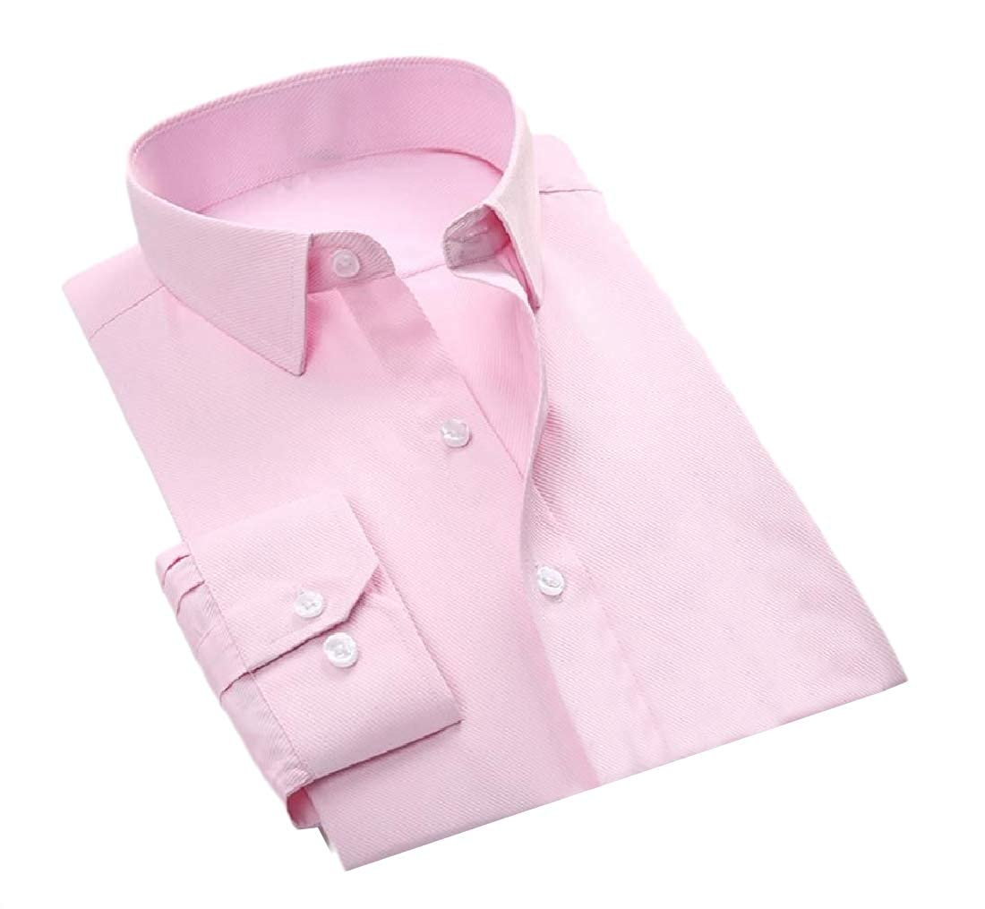 SportsX Mens Pure Color Simple Thin Button-Down Business Top Fit Shirts