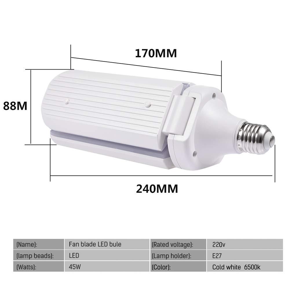 Cold White 6000K Super Bright Work Light for Garage Garage Lighting 80W LED High Bay Light Bulb Deformable Ceiling Light Bulbs E26//E27 Garage Light Bulb Workshop 8000LM LED Garage Lights
