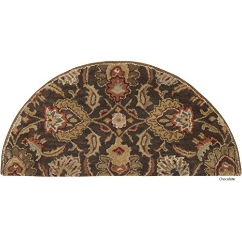 - Dark Brown Hearth Rug Fireplace Carpet Semi Circle, Beige Red Floral Pattern Half Moon Circle Mat Traditional Flower Themed Chimney Mat, Semicircle Rug Fire Place Cabin Lodge Cottage 2' x 4', Wool