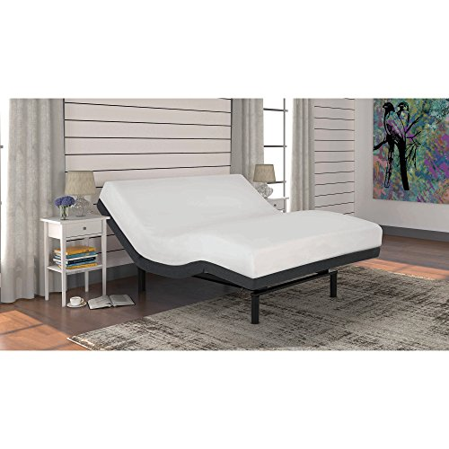 Fashion Bed Group S-Cape 2.0 Adjustable Bed Base with Wallhugger Technology and Full Body Massage, Charcoal Gray Finish, Queen