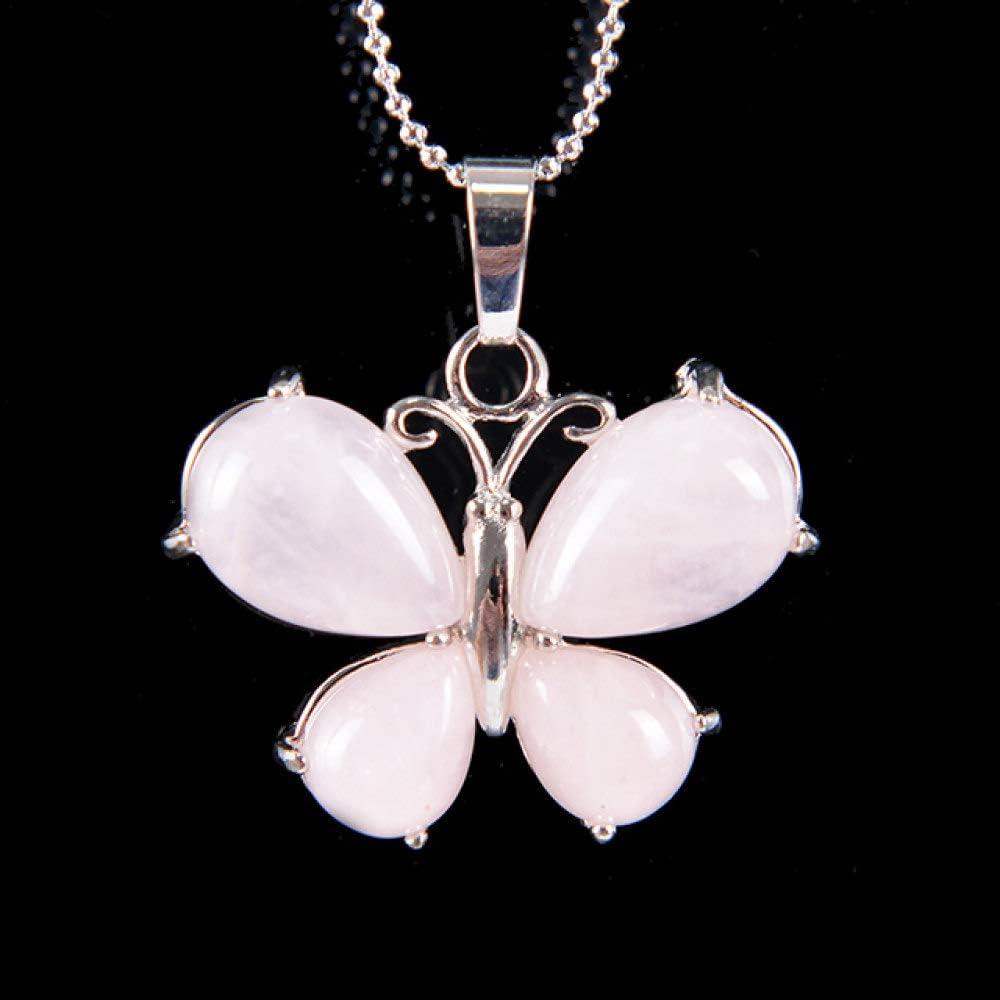 TFOOD Collarcolgante Piedra Preciosa,7 Chakra Moda Forma De Mariposa Colgante De Cuarzo Rosa Collares De Cadena De Plata para Mujeres Regalos De Joyería