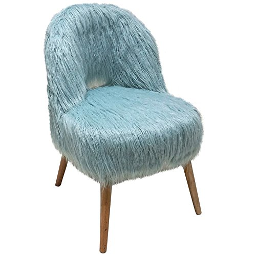 Jeco Faux Fur Accent Chair in Blue from Jeco Inc.