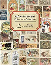 Advertisement Ephemera Collection: 18 sheets - over 150 vintage colored Advertisements for DIY cards and journals