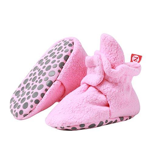 Zutano Boys' Cozie Fleece Baby Booties With Grippers, hot pink, 12M (6-12 Months)