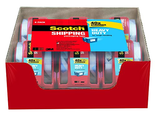 Scotch Heavy Duty Shipping Packaging Tape  1 88 Inches X 800 Inches  6 Rolls With Dispenser  142 6