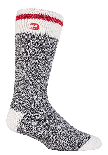 Blocks Acrylic Sock (Heat Holders - Mens and Women's winter Thermal Socks in 35 Colours (Grey Block Twist))