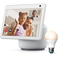 Ring A19 Smart LED Bulb, White, bundle with All-new Echo Show 10 (3rd Gen) - Glacier White photo