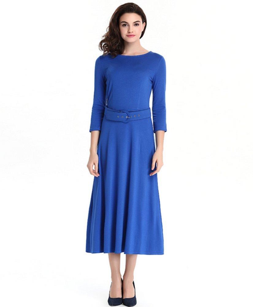 Antique Style Women's Office OL Wear to Work Long Sleeve Casual A-line Swing Dress with Belt (M, Blue)