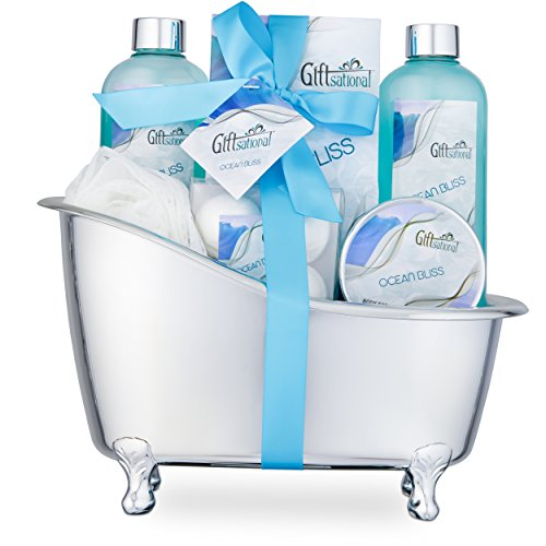 Spa Gift Basket with Refreshing Ocean Bliss Fragrance - Best Mother's Day, Birthday or Anniversary Gift for Women -Bath Gift Set Includes Shower Gel Bubble Bath, Bath Salts Bath Bombs and More
