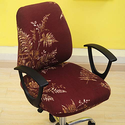 T-CYYT 2 Pieces Split Chair Cover Office Computer Chair Cover Elastic seat Cover, Gold Branch Jade Leaf Split seat Cover